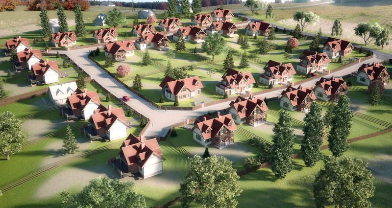 Osiedle domów jednorodzinnych w Rusi koło Olsztyna